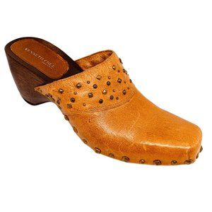 Kenneth Cole Stone Love Studded Wooden Clog Mules